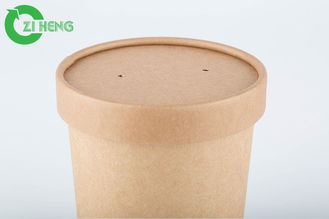 350 Ml 40gsm Kraft Paper Cups With Lid Take Away Disposable Paper Soup Cups