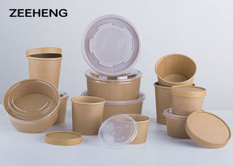 250ml 400ml 500ml Microwave Kraft Paper Bowls Single PE Coating Food Grade